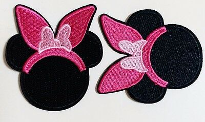 Minnie Mouse Easter Bunny Ears Pink Bow Iron On  DIY Applique Sewing 2 3/4