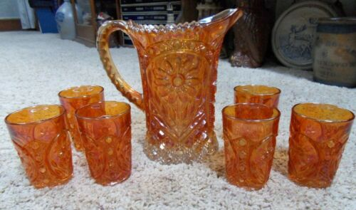 Imperial 474 (Cut Pattern with Daisies) Marigold Carnival Pitcher and 6 Tumblers