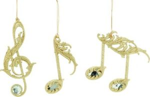 Set of 3 Gold Musical Notes Christmas Tree Hanging Decorations NEW  18455