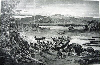 NATIVE INDIAN CAMP LODGE BY RIVER DUGOUT CANOE SALISH HAIDA ~ Old 1888 Art Print