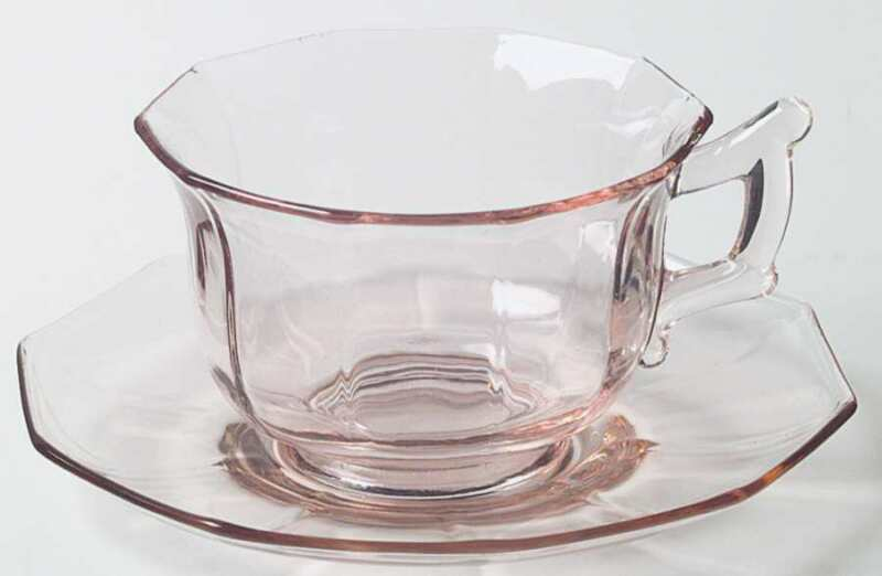 Cambridge Decagon Pink Cup & Saucer 47313