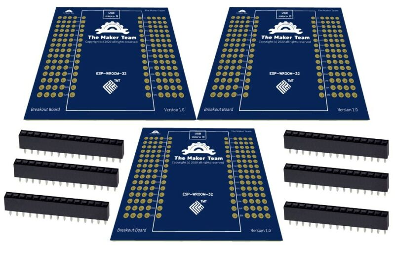 3 Breakout Boards for ESP32-WROOM-32