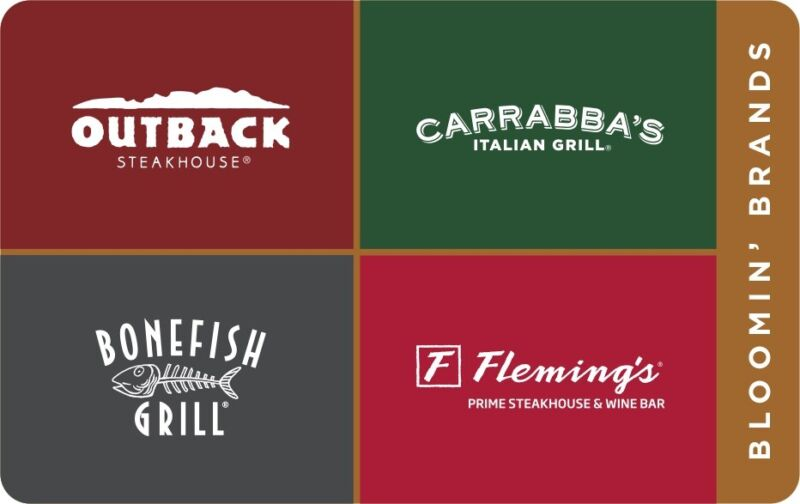 Outback Steakhouse Bone Fish Fleming's & Carrabbas 25$ PDF Gift Card Certificate