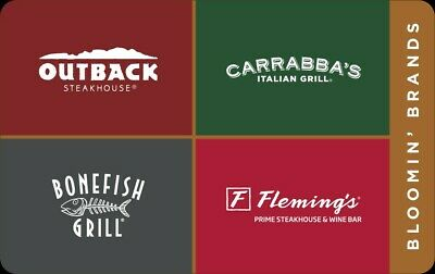 Outback Carrabba's Bonefish Flemings Restaurant $500 GiftCard Certificate $25x20