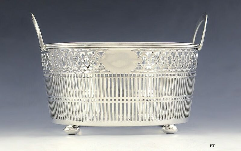 Antique Early 1900s Watson Sterling Silver Glass Liner Pierced Bowl/Dish/Basket