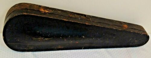 Vintage Antique Wooden Violin Coffin Case Hinged Lid Decor Prop 32