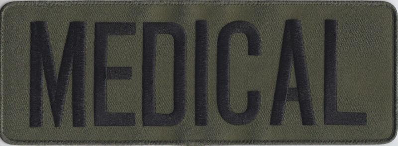 "MEDICAL Black on OD Green Back Panel Patch 11"" X 4"" (police/swat/SRT/tactical)"