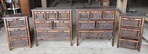 Dark Wicker Chest and Side with Divider and Drawers Large Small