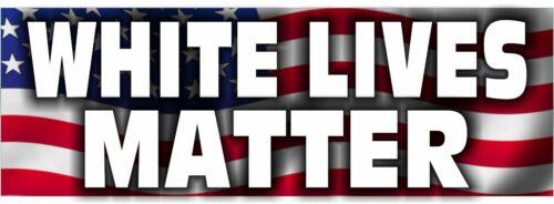 """White Lives Matter USA REFLECTIVE 8.8"""" X 3"""" Bumper Sticker Exterior Bumper Decal"""