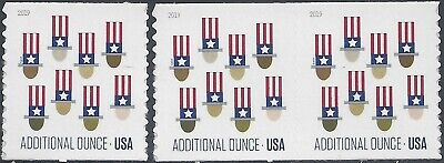 #5341 15c Forever Additional Ounce Uncle Sam's Hat Coil Single and Pair Set 2019