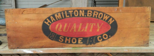 Very Nice HAMILTON-BROWN SHOE CO. Crate Painted Wood Advertising