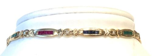 Discount--solid 14k Yellow Gold, Sapphires, Rubies, Emeralds, Diamonds Bracelet