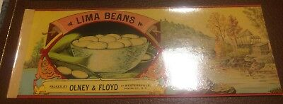 Canning Lima Beans - OLNEY & FLOYD LIMA BEANS Can Label 1890s Westernville New York CHROMO LAKE SCENE