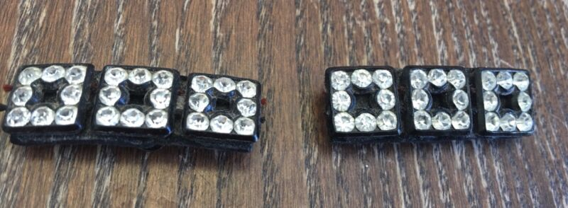 Vintage Black Leather Clear Crystal Multi Square Design Rectangle Shoe Clip Set