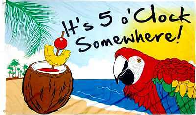 IT'S 5 O'CLOCK SOMEWHERE Flag 3x5 ft Yard Garden Beach Banner Party Parrot (5 Oclock Somewhere Garden)