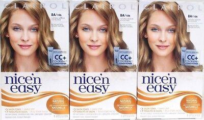 3 Clairol 8A Nice'n Easy Permanent Hair Dye 8A/106 Natural Medium Ash (Nice N Easy Natural Medium Ash Blonde)