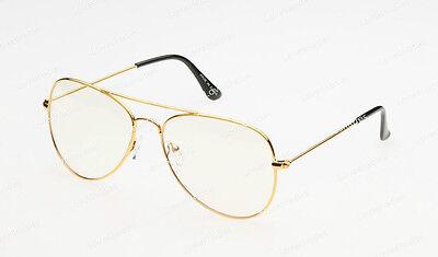 Clear Lens Aviator Gold Glasses Fashion Sunglasses Retro Vintage Style Metal