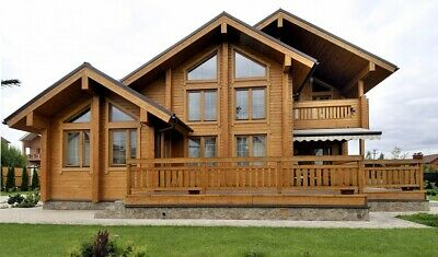 LAMINATED LOG ECO HOUSE KIT ENGINEERED WOOD PREFAB DIY BUILDING CABIN HOME ](Wood Building Kits)