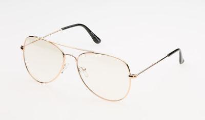 Clear Lens Aviator Rose Gold Glasses Fashion Sunglasses Retro Vintage Metal (Clear Gold Aviator Glasses)