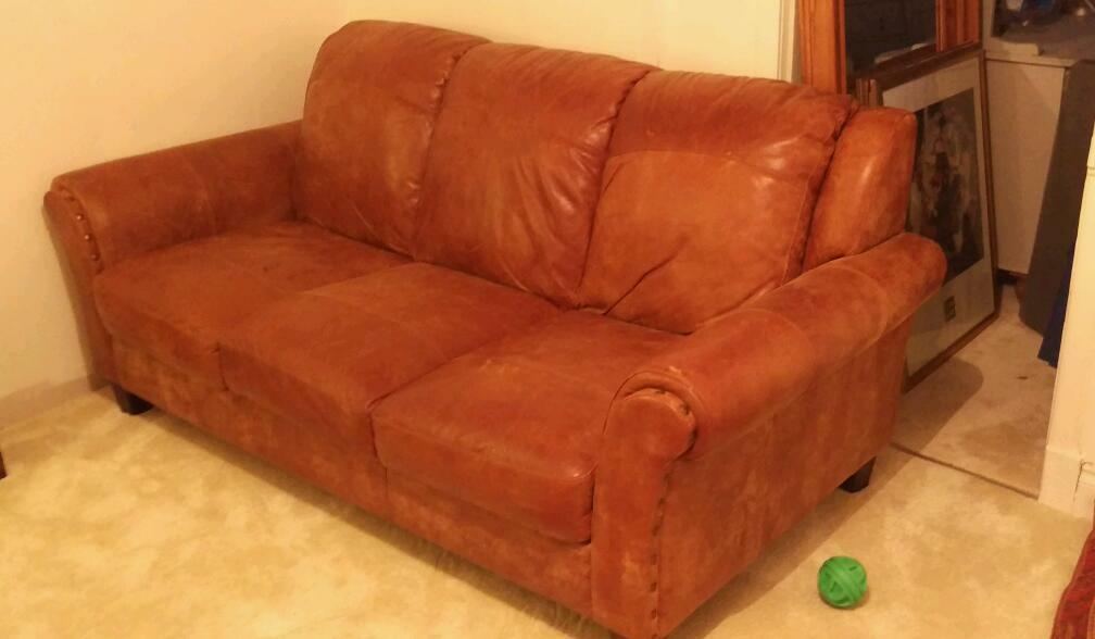 Attractive DFS Peyton Leather 3 Seated Sofa , 11 Months Old