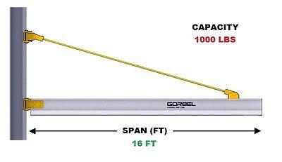 Gorbel Aluminum Wall Bracket Jib Crane - 12 Ton Capacity Span 16 Ft