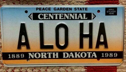 NORTH DAKOTA VANITY PERSONALIZED LICENSE PLATE ALOHA HAWAII HAWAIIAN ISLANDS
