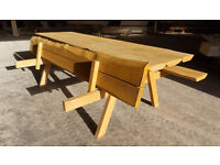 Wooden table made from thick board