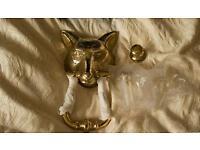 Brass Fox Head Door Knocker