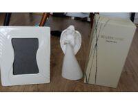 "Belleek Living 'Angel with Dove' figurine approx 9"" tall & a Belleek 'Reflect' 6"" x 4"" photo frame"