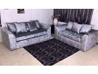 【3+2 SIVLER CRUSHED VELVET】*SPECIAL OFFER*!CORNER SOFA SILVER GOLD BLACK COUCH 2 & 3 SEATER SET