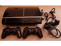 Sony PlayStation 3 PS3 80GB Piano Black Console Two controllers