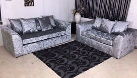 *SPECIAL OFFER //// CRUSHED VELVET CORNER SOFA SILVER GOLD BLACK COUCH 2&3 SEATER SET SWIVEL CHAIR