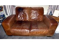 DFS Leather Two Seater Sofa