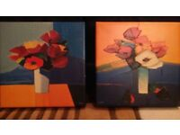 PAIR OF IKEA 'HALLARYD' PICTURES, ATTRACTIVE, NICE COLOURS AND TEXTURES. GOOD CONDITION 35 x 35 cm