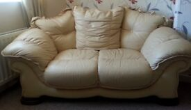 2 Seater Pur leather Sofa off white color in mint condition