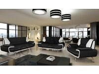 BRAND NEW PALERMO FAUX LEATHER 3+2+1 SEATER SOFA IN BLACK/WHITE, BLACK/RED OR BROWN/CREAM
