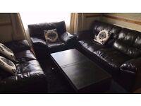 dfs leather sofas mocha brown - 2 sofas + 1 chair