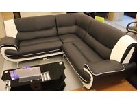 SOFA, L SHAPE, CORNER, LEATHER, BLACK/WHITE, MODERN!DELIVERY AVAILABLE!