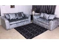 Brand New Dylan-Chicago-2 + 3 Seater and Corner Sofa-Crushed-Velvet available in Black Gray & Silver
