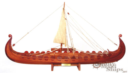 "Oseberg Viking Ship - Clinker Built  - Handcrafted Model Ship 34"" Display Ready"