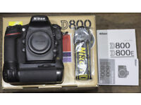 Nikon D800 full frame 36MP DSLR camera boxed, in excellent condition