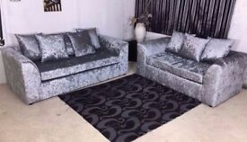 BRAND NEW EXTRA PADDED DYLAN CRUSH VELVET CORNER OR 3+2 SOFA IN SILVER