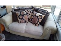 Two seater sofa beige brown cushions