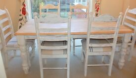 Shabby Chic Solid Wood Dining Table with 6 chairs - £250.00