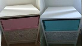 2 Bedside Units- Shabby Chic Vintage Style- immaculate