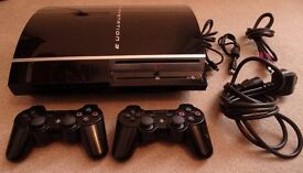 Sony PlayStation 3 PS3 80GB Piano Black Console (CECH-M03) Two controllers