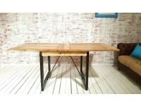 Rustic Dining Extending Industrial Table Drop Leaf Hardwood Finish Folding Space Saving Extendable