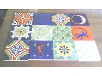 12 NEW HANDMADE MEXICAN CERAMIC WALL TILES-DOUBLE FLOWER MIX-10.5CM X 10.5CM(Approx)