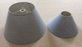 TWO BLUE AND WHITE CHECK LAMPSHADES (WHITE COMPANY)