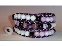 New Handmade triple wrap gemstone bracelet, Malaysian Jade, agate, mother of pearl on black leather